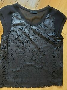 New-womens-ZARA-black-top-laser-cut-size-M