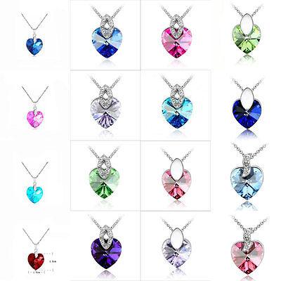 Fashion Women Heart Crystal Rhinestone Silver Chain Bid Pendant Necklace Jewelry