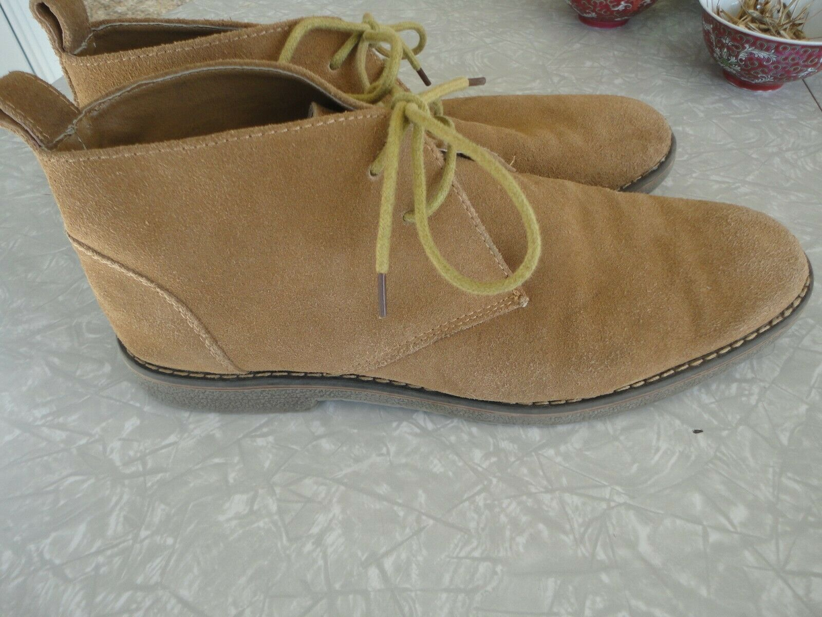 G. H. BASS & CO PLANO TP MEN'S TAUPE TAN SUEDE LEATHER 4 CHUKKA BOOTS SIZE 11 D