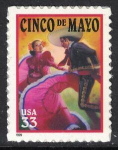 Scott-3309-Cinco-de-Mayo-Reedicion-Dancers-MNH-S-un-33c-1999-Nuevo