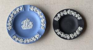 Vintage Original Wedgwood JasperWare Ash Trays Trinket Dish Blue & Black England