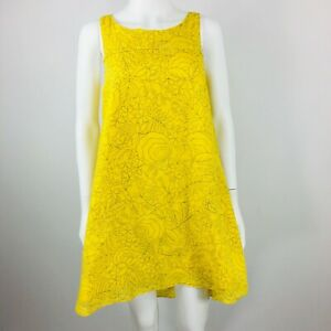 Anthropologie-HD-in-Paris-A-line-Dress-Size-00-Yellow-Flowers-Sleeveless-Cotton