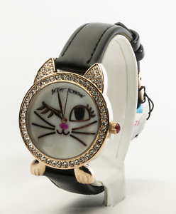 Betsey-Johnson-Women-039-s-Crystal-Crown-Case-Rose-Gold-Tone-Watch-BJ00669-02BX-New