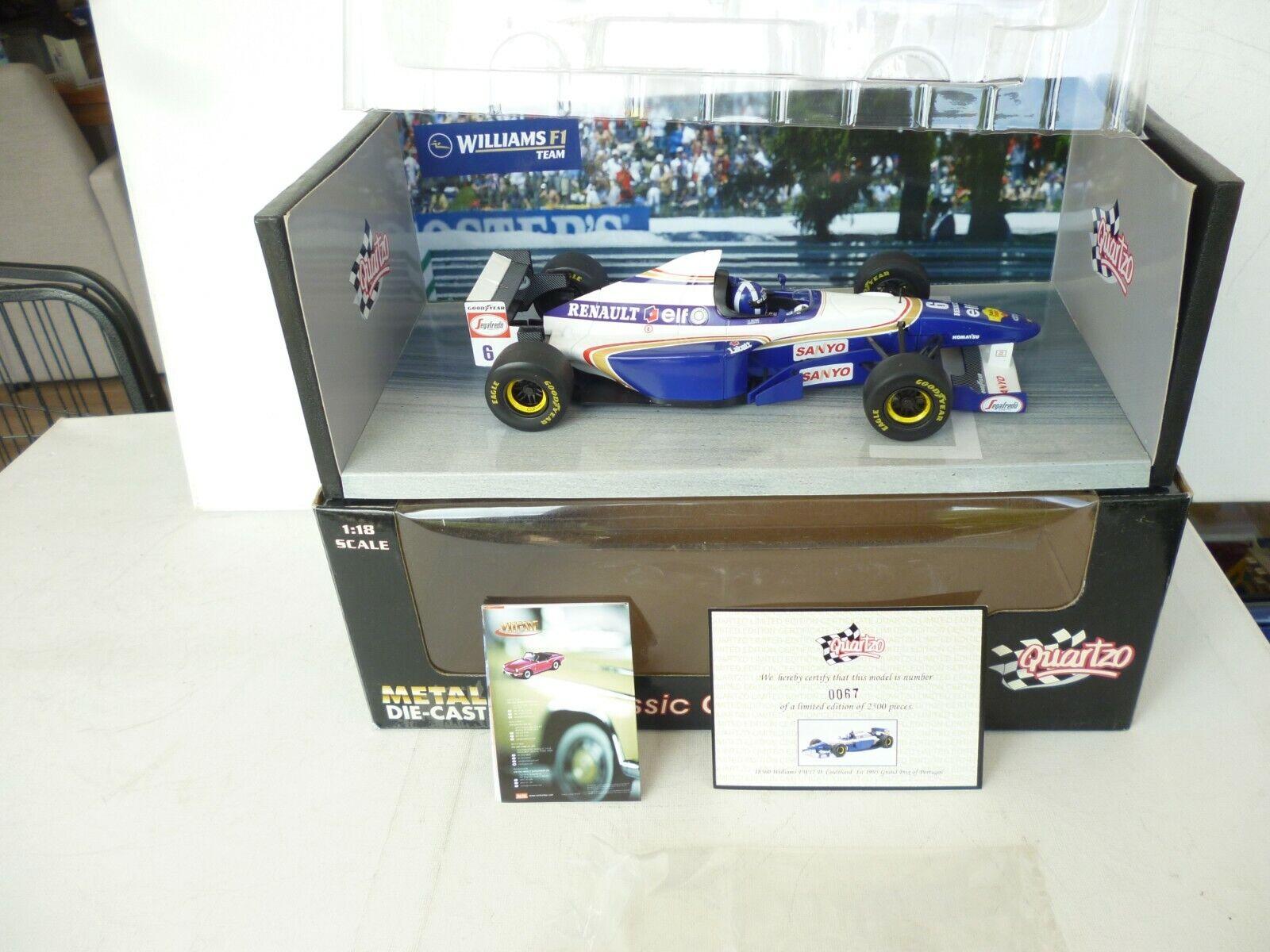 echa un vistazo a los más baratos Williams FW17    6 Coulthard  1° Portugal GP  1995 (Quartzo 1 18   18360) NEW OVP   comprar descuentos