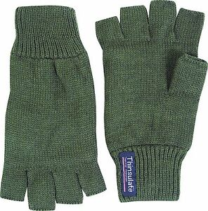 Acrylic-Knitted-Green-Thinsulate-Lined-Insulated-Thermal-Fingerless-Gloves-Mitts