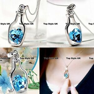 Unique Bottle Heart Crystal Diamond Necklace Birthday Gift Best