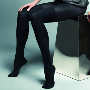 another chance lace up in discount collection Details about Black Thick Opaque Mock Suspender Tights Imitating Stockings