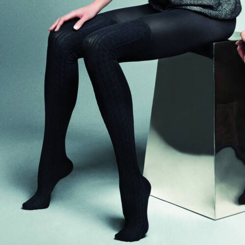 "Black Thick Opaque Mock Suspender Tights Imitating Stockings /""Negrita/"" 80 Denier"