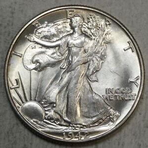 1942 Walking Liberty Half Dollar Choice AU 90/% Silver Almost Uncirculated