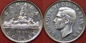 1950 Canada Silver Dollar Graded as Brilliant Uncirculated