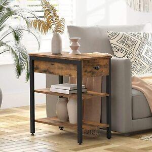 Beistelltisch schmaler Sofatisch Nachttisch mit Schubladen und 2 Ablageflächen