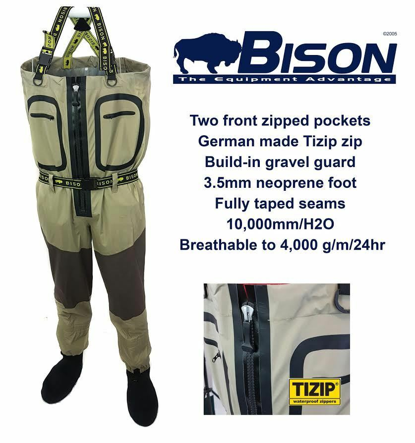 BISON BREATHABLE ZIP ZIP ZIP FRONT WADERS COMPLETE WITH RUBBER OR FELT SOLE WADING Stiefel 5d7629