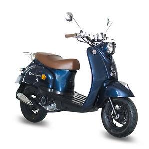 Gmx 460 Retro Scooter 45 Kmh Blau 4takt 50ccm Motor Roller Mokick