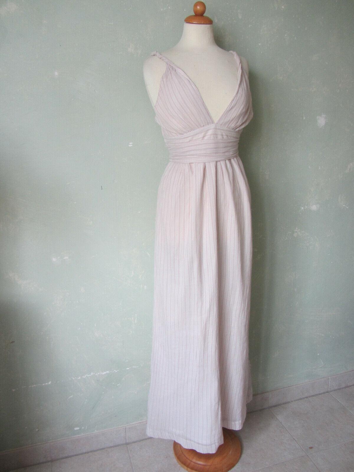 Gap Dress Long Beige Brown Summer Dress Back Neckline Size 38 M