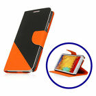 Black and Orange Leather Wallet Case Stand for Samsung Galaxy Note 3 N9000