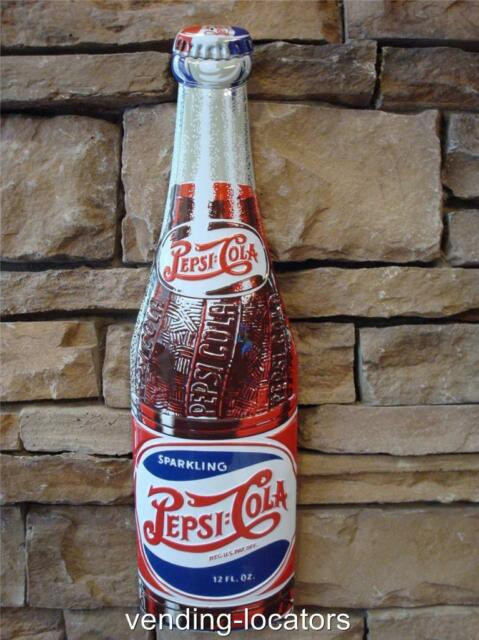 Pepsi Cola Metal Embossed Bottle Sign Advertising Double Dot Cooler Button New