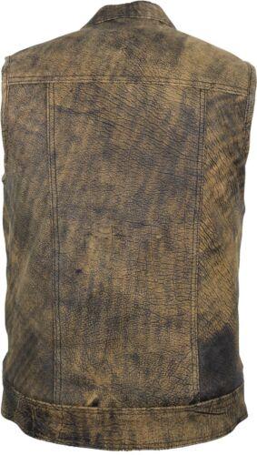 Uomo Vintage colore Marrone in Pelle Gilet Biker Gilet Club Gilet Rocker Gilet Gilet Jeans