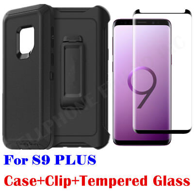 hot sale online b9ab3 89274 For Samsung Galaxy S9 Plus Case Clip Fit Otterbox Defender +Tempered Glass  BLACK | eBay