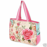 Sandy Clough Oversize Vacation Resort Tote Handbag Bohemian Pink Rose