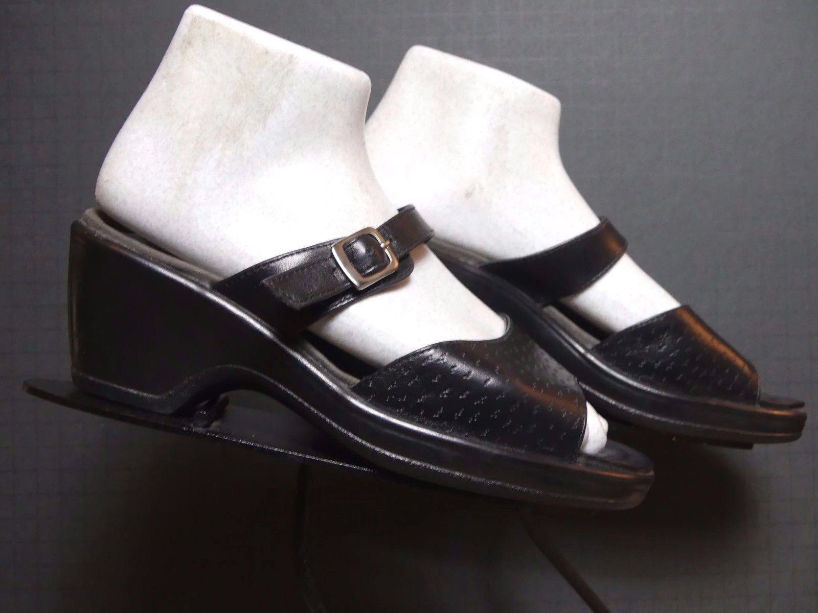 Women's Dansko Portugal Black Leather Side Open Toe Sz. 37/6.5 EXCELLENT!