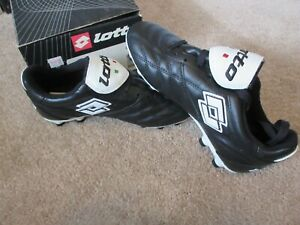 Lotto-Trofeo-II-PU-Soccer-Cleat-Shoes-A7855-Black-White-Vintage-NEW-NOS