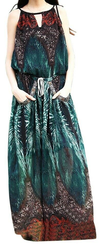 NWT Aporia.As Maxi Dress Bohemian Blau Print Light Dress Halter Drawstring XS S