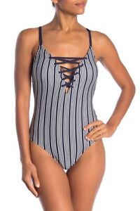 Nautica-Lace-Up-Stripe-One-Piece-Swimsuit-White-Navy-Blue-XL