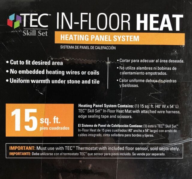 15 Sq Ft Tec In Floor Heating Panel System Heat Mat For Tile Tec Skill Set For Sale Online