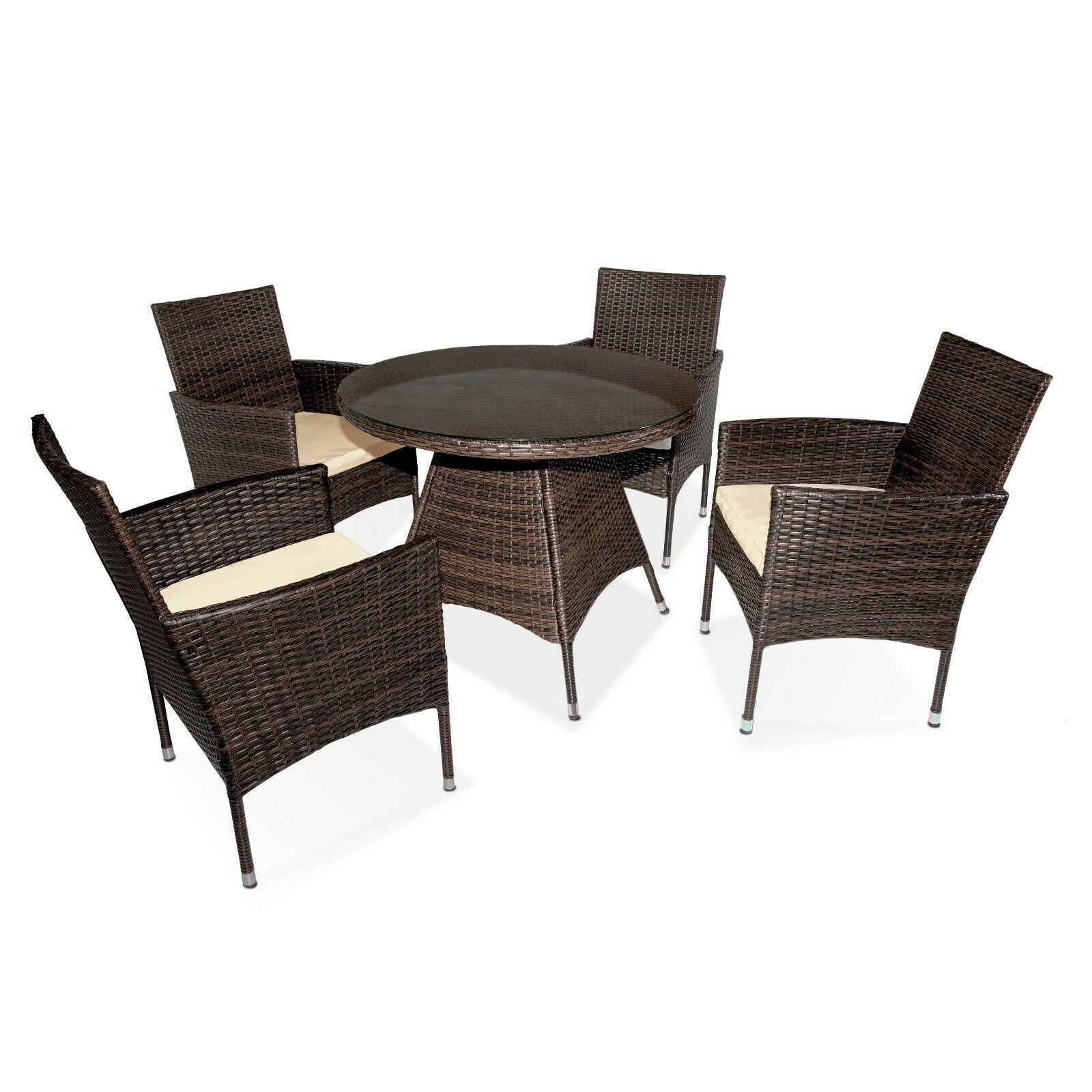 Detalles De Mueble De Jardín 4 Sillas Y 1 Mesa Conjunto Exterior Rattan Sintético Perú