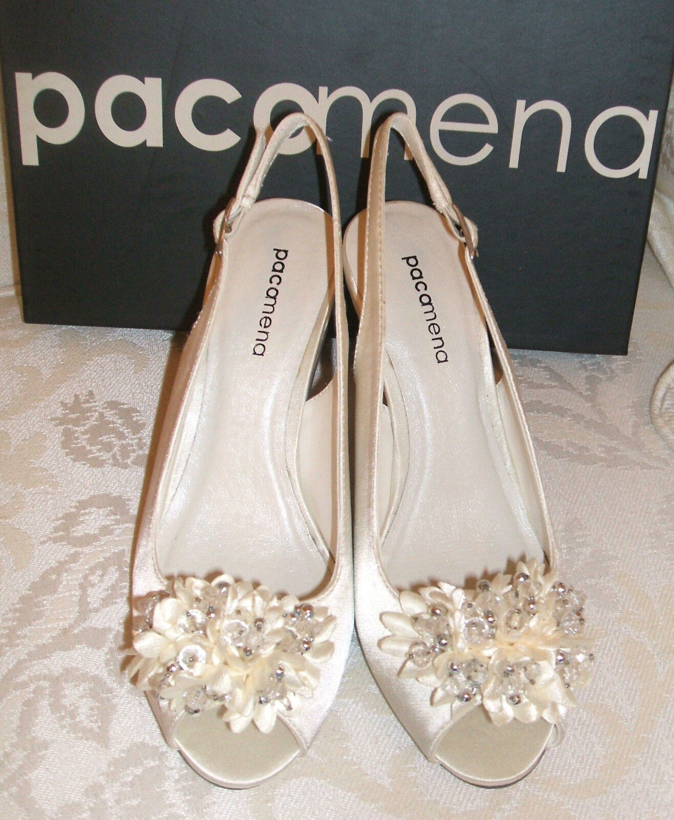 NEW SIZE 3 JEWEL PACO MENA IVORY CORSAGE JEWEL 3 SLINGBACK MID HEEL BRIDAL Schuhe e1bed7