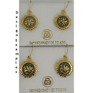 Damascene-Gold-Dove-of-Peace-Design-Round-Shape-Earrings-by-Midas-Toledo-Spain