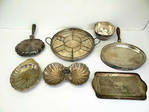Antique-Lot-Kitchen-Biscuit-Trays-Warming-Dish-Serving-Platter-Tray-Silverplate