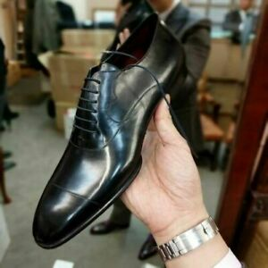 Handmade Men/'s Genuine Black Oxford Lace Up Toe Cap Formal Dress Wedding Shoes