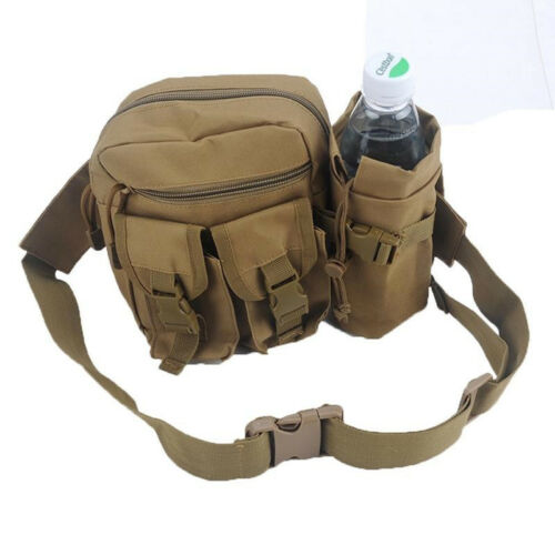 Nylon Military Tactical Water Bottle Belt Fanny Pack Waist Bag Camping Bags QK