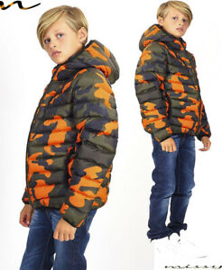 Ragazzi Parka Camouflage Giacca Militare Cappuccio Winter School Imbottito HUGO1