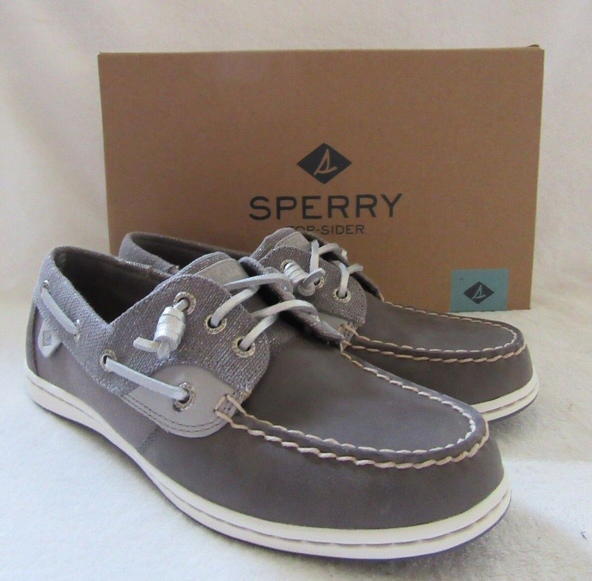 SPERRY Top Sider Songfish Sparkle Grey Leather Boat Shoes US 7.5 M NWB
