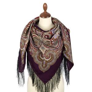 715-7-authentique-Pavlovo-Posad-Chale-100-laine-125x125cm-russe-foulard-wrap-49-034