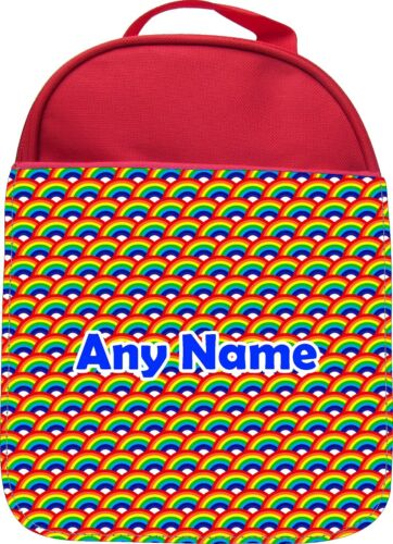 PERSONALISED RAINBOW BOUNCE PRINT KIDS SCHOOL INSULATED LUNCHBOX LUNCHBAG