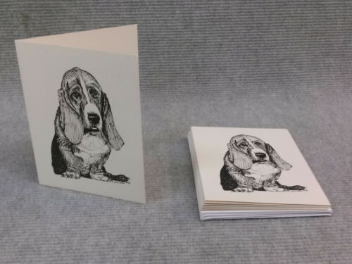 Note Cards Bassett Hound Pen and Ink Stationary Cards Greeting Cards.10pk.