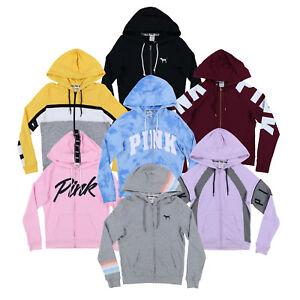 16115046e3173 Details about Victoria's Secret Pink Hoodie Full Zip Up Sweatshirt  Lightweight Terry Lined New