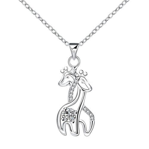 925 Sterling Sliver Filled CZ With Pave Crystal Giraffe Pendant Bride Necklace