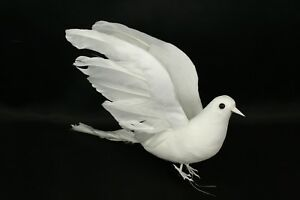 Pack of 6 Artificial Doves White Flocked Body & Natural Feather Wings & Tail