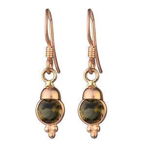 Women-Jewelry-925-Sterling-Silver-smoky-Quartz-gemstone-dangle-rose-gold-earring
