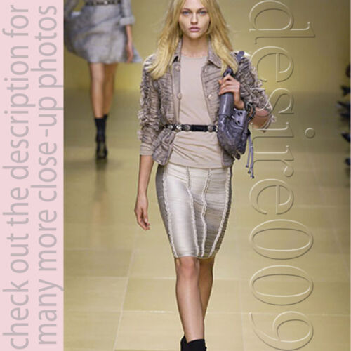 Burberry Prorsum Beige Grey Ruffle Cropped Trench