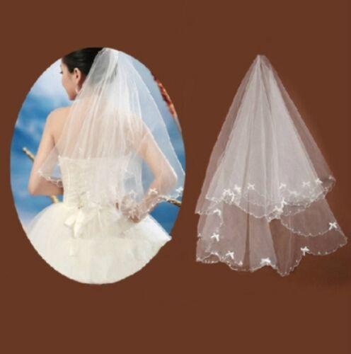Neu Brautschleier Schleier weiß mit Kunstperlen Hochzeit 135cmx100cm