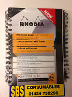 PACK OF 3 RHODIA A5 SPIRAL NOTE BOOKS. BLACK. 160 PAGE. 90sgm RHODIA PAPER