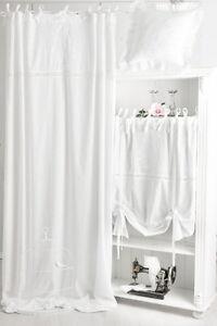 elvira weiss bestickt gardine 2x 145x250cm vorhang romantik shabby franske chic ebay. Black Bedroom Furniture Sets. Home Design Ideas