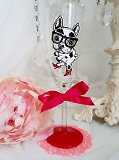 Personalised Hand Painted Champagne Flute PUG dog birthday gift birthday 30th 55