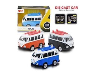 Diecast-VW-Camper-Van-Classic-Car-Pull-Back-audio-luci-giocattolo-bambini