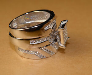 14k-White-Gold-Over-1-80-CT-His-amp-Her-Diamond-Trio-Engagement-Wedding-Band-Set